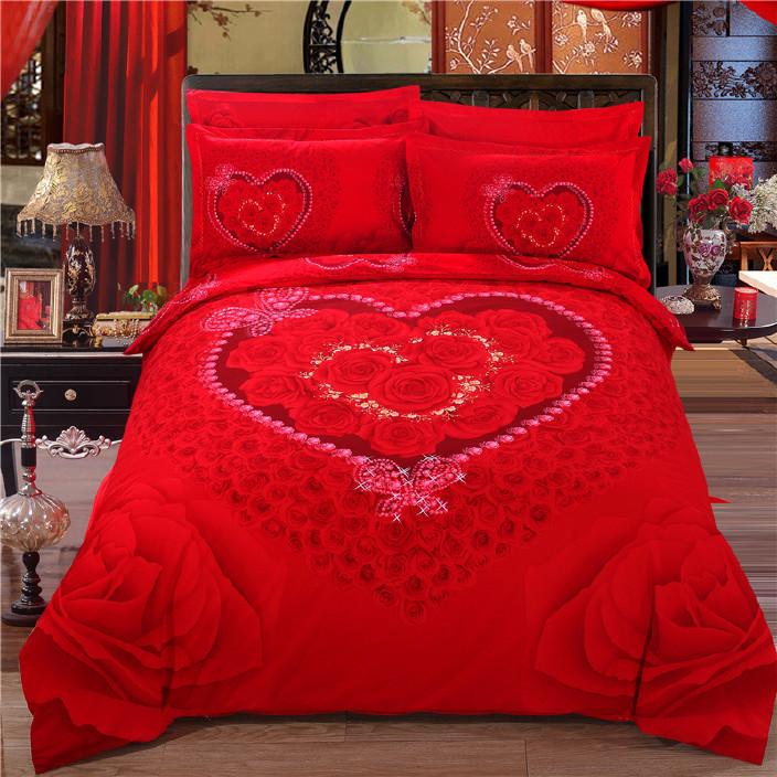 家紡婚慶四件套純棉床品套件磨毛加厚活性全棉4件套全棉大紅色囍圖片