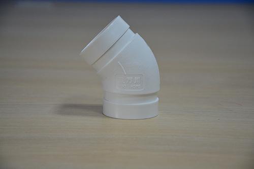 沟槽式HDPE中空排水管,45°直弯,PE沟槽式排水管,PE沟槽静音管示例图3