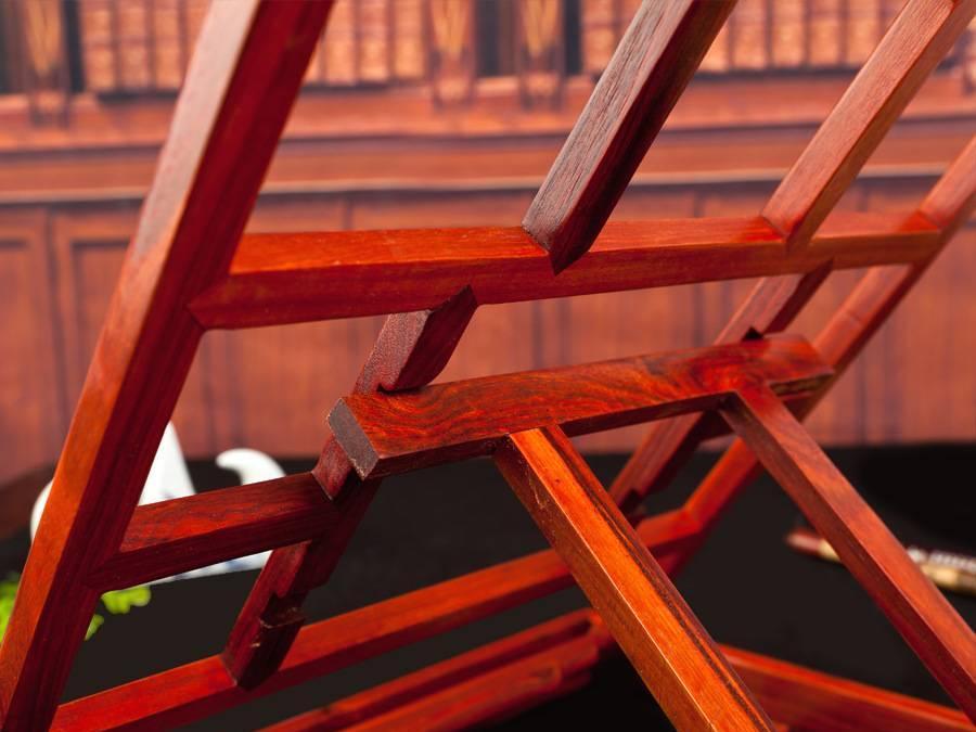 新款明式临帖架 红檀木字帖架看书架 折叠阅读架木制读书架示例图4