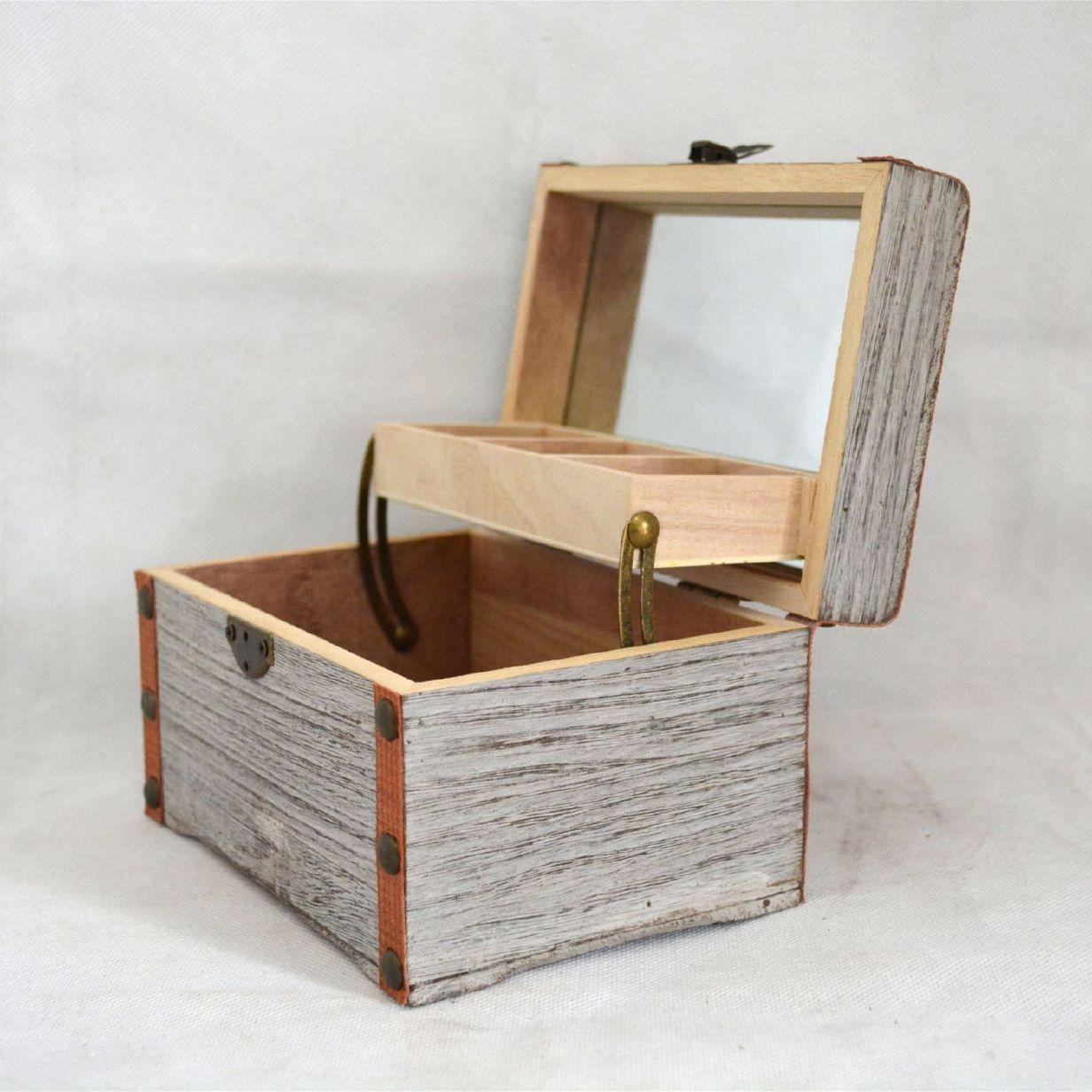 简约高档纯色木质首饰盒创意化妆品盒 珠宝首饰收纳盒