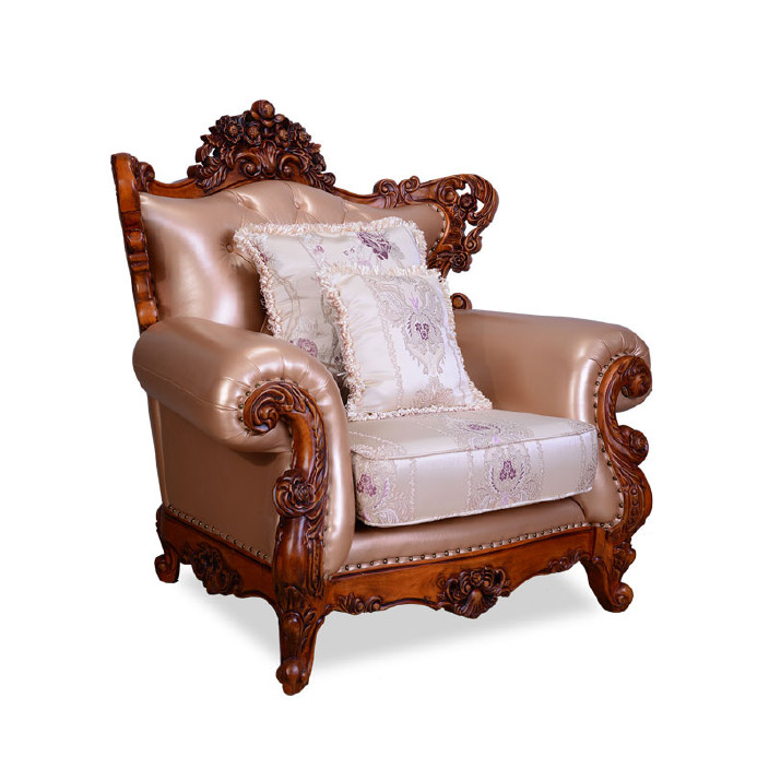 2018法式新款沙发 珠光牛皮沙发 实木雕花沙发 欧式沙发示例图6图片