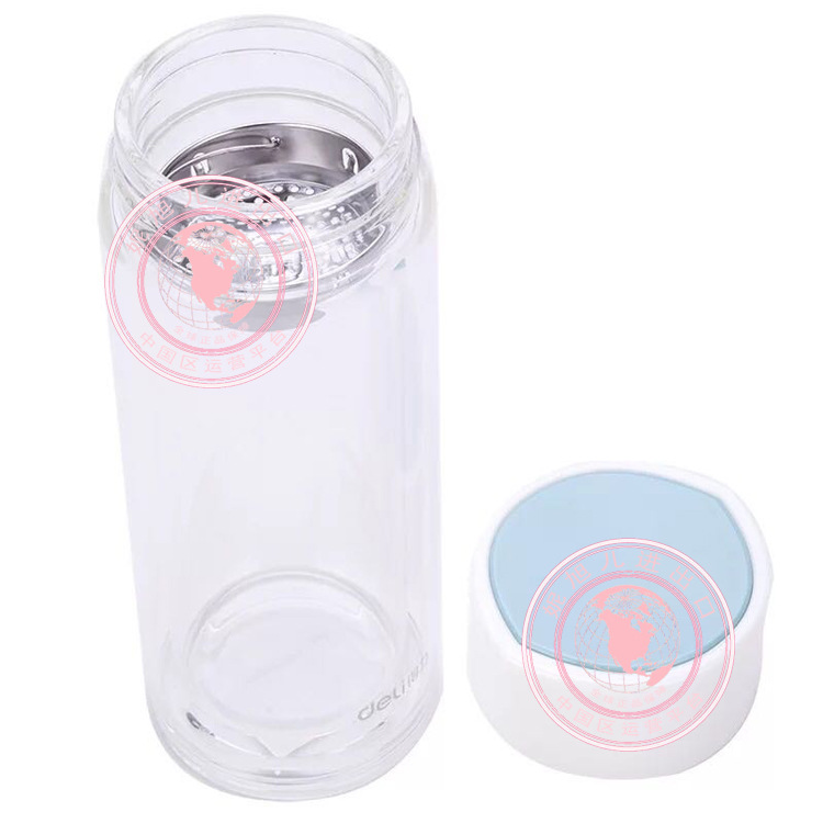 批发得力6133玻璃杯双色双层隔热水杯便携过滤食品级茶210ml正品