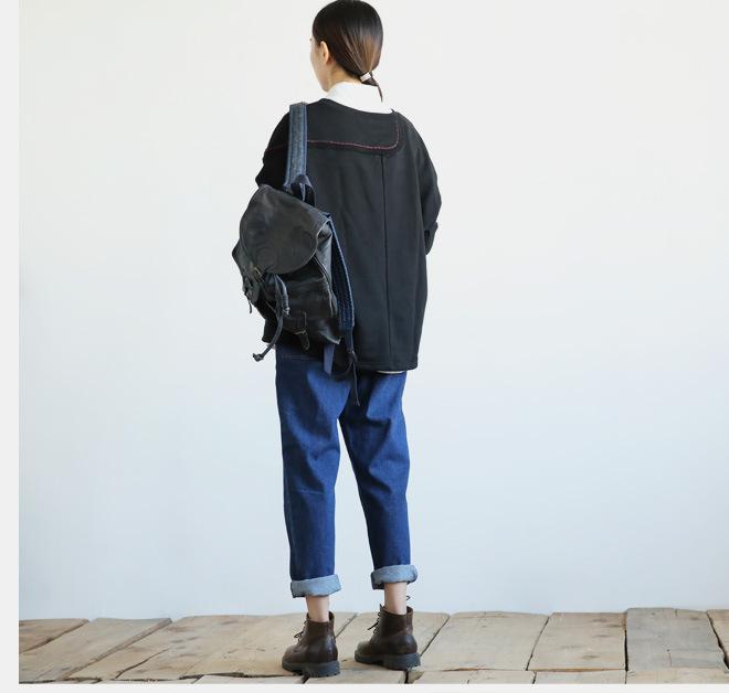 新款江南布衣风格复古怀旧百搭休闲大口袋阔腿裤牛仔裤女1631示例图17