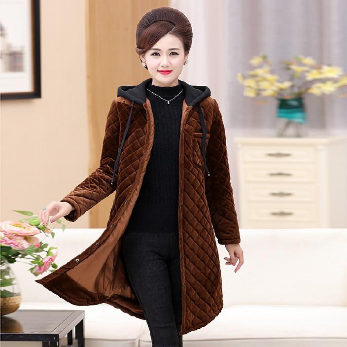 新款中老年女装棉衣 金丝绒纯色连帽大码棉袄外套妈妈装冬季棉服图片