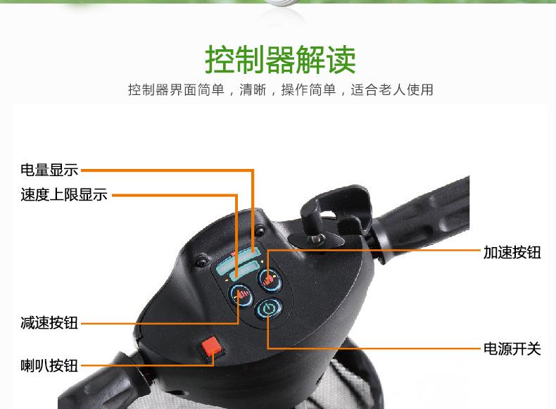 包邮上海互邦电动轮椅HBLD4-E轻便可折叠老年残疾人代步车家用示例图23