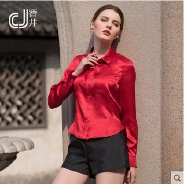 真丝衬衫 新款真丝女衬衫 欧美素绸缎衬衣 修身衬衣 长袖衬衫示例图1