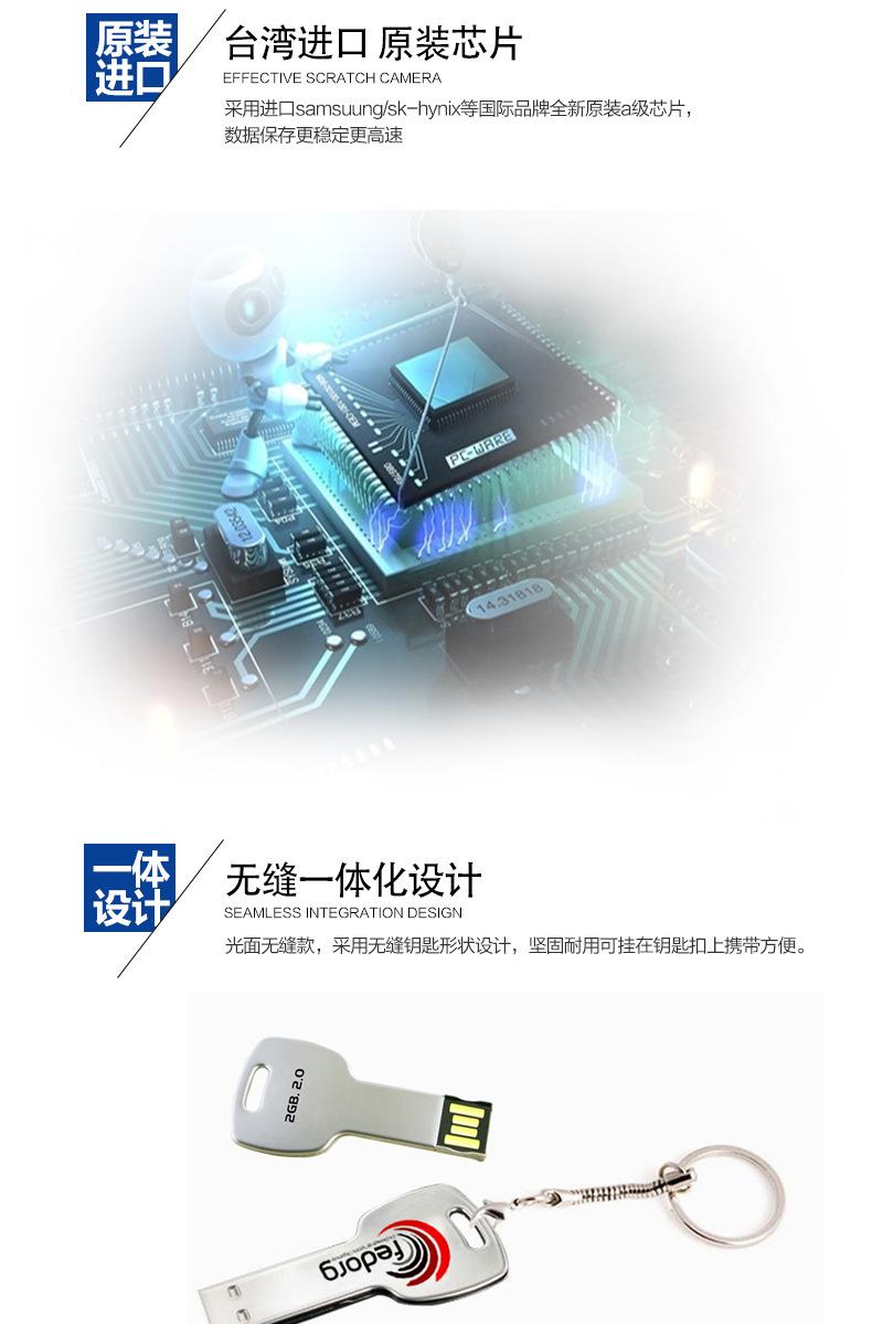 數碼電子連體鑰匙U盤廣告創意u盤定制會議禮品金屬U盤投標4gbu盤示例圖7