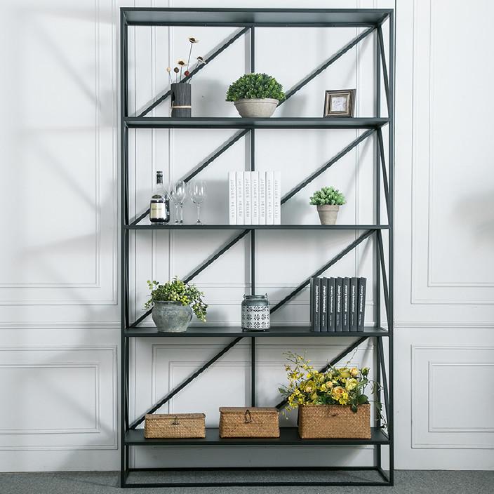 简约现代铁艺图书馆书架 办公室落地靠墙展示架家用多层储物柜
