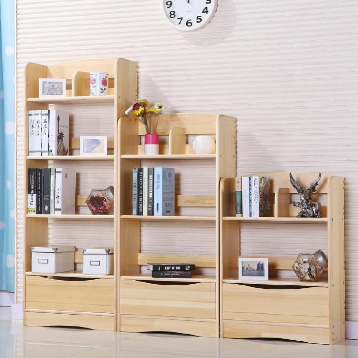 实木书架儿童置物架简约多层落地松木书柜简易组合学生储物货架