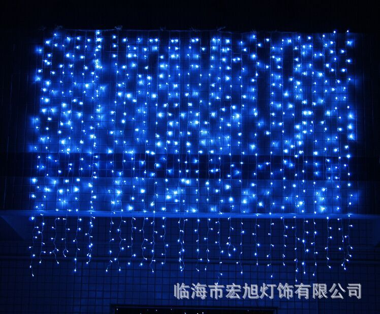 主播房间装饰 圣诞节日网红 LED窗帘灯3*3米304灯 冰条婚庆装饰灯示例图24