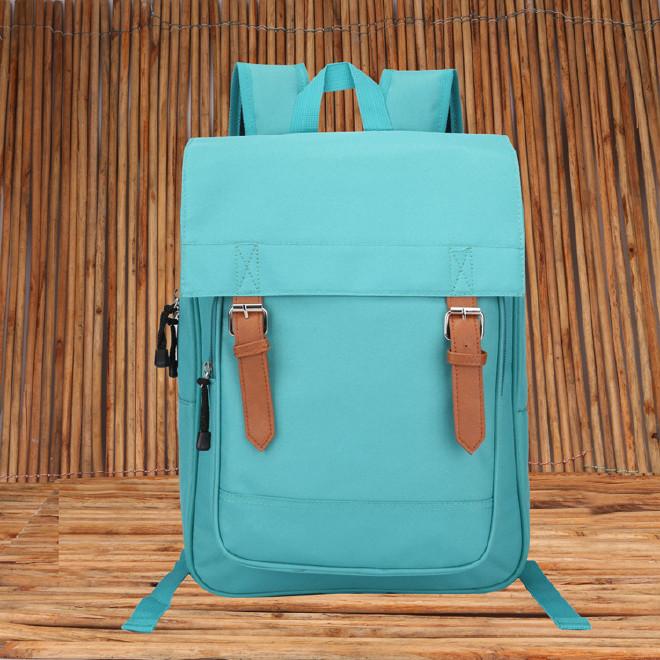 2016新款时尚韩版学院风带盖双肩学生书包 纯色休闲旅游包批发示例图41