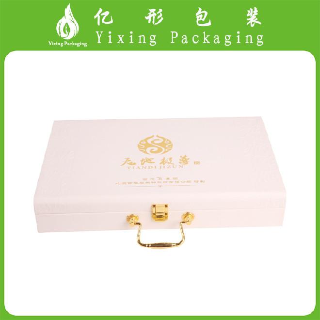白色化妆品盒精油 香水盒 翻盖包装纸木盒 养生套装包装皮盒定做图片