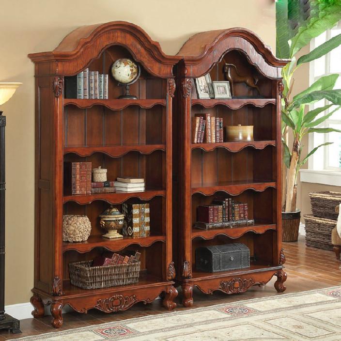 美式书柜实木欧式雕花书柜自由组合书柜带门欧式书架书橱单个书柜