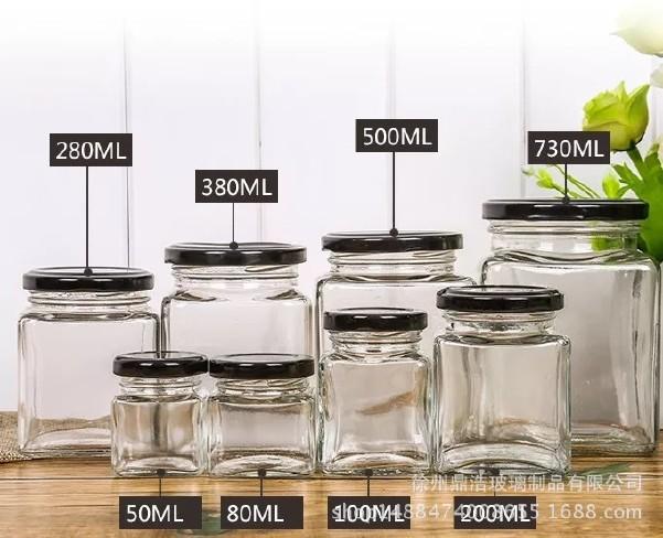 批发六棱玻璃蜂蜜瓶 透明酱菜瓶罐头瓶 玻璃果酱瓶辣椒酱瓶可定制