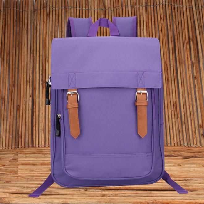2016新款时尚韩版学院风带盖双肩学生书包 纯色休闲旅游包批发示例图23