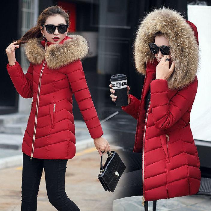 2018冬季韩版新款女式棉衣女中长款修身棉袄大毛领羽绒棉服外套女图片