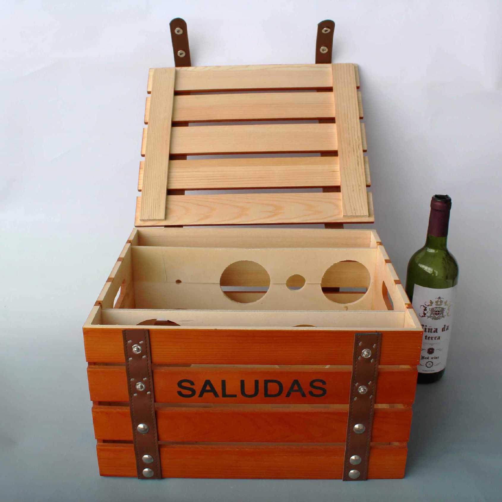 红酒礼盒 六支装葡萄酒包装专用礼盒 皮带铆钉装饰专业定制