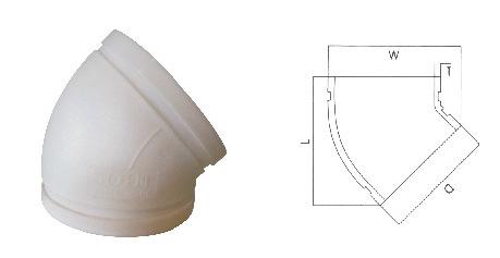 贵阳沟槽式HDPE超静音排水管,45度弯头,HDPE沟槽静音排水管,PE示例图11