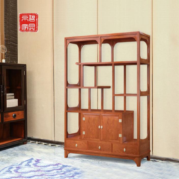 红木家具多宝阁 全实木中式隔断缅甸花梨木博古架书柜架屏风家具