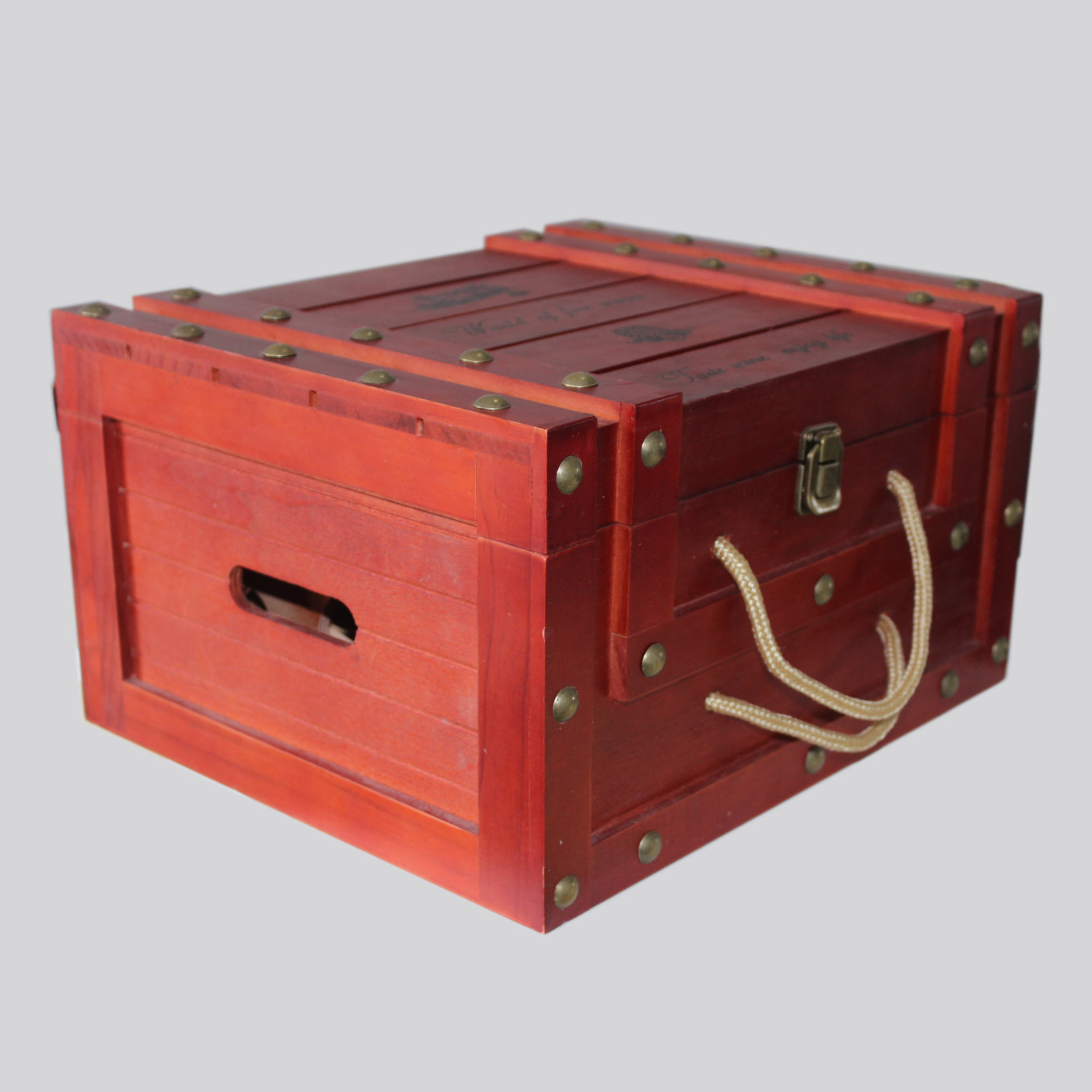 专业定制红酒木箱 六支装铆钉皮条松木制造上色印LOGO 厂家批发