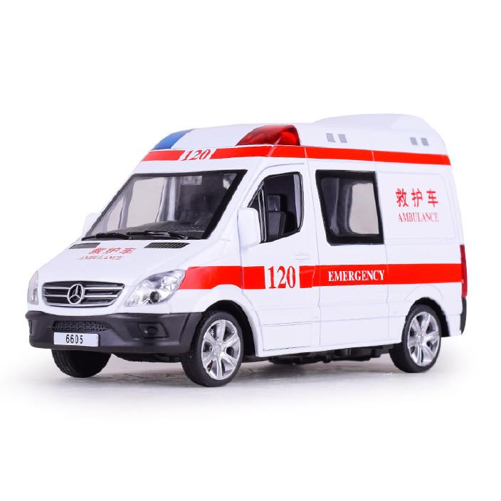 宝思仑厂家热销合金救护车警车合金汽车模型回力儿童玩具车批发图片