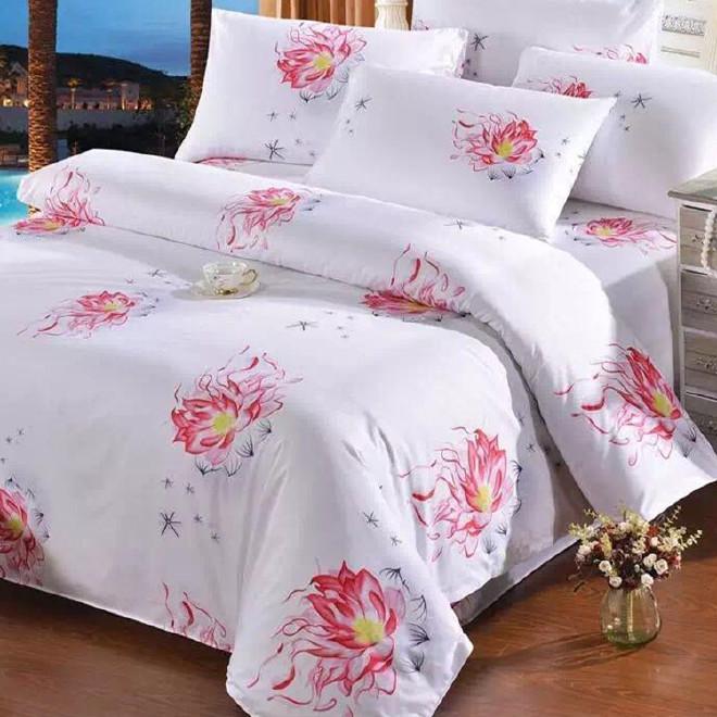 级酒店客房布草 60支贡缎全棉印花 家用四件套 支持私人定制