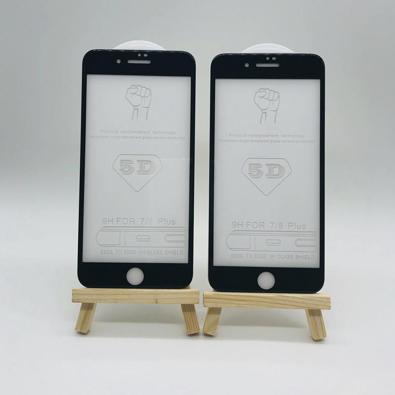 苹果8全屏钢化膜 5D大弧度钢化玻璃膜 苹果8plus手机钢化膜