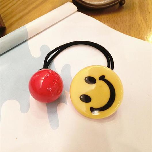 韩国扎笑脸表情发圈文字色双头果冻发绳做成照片加表情包头绳图片