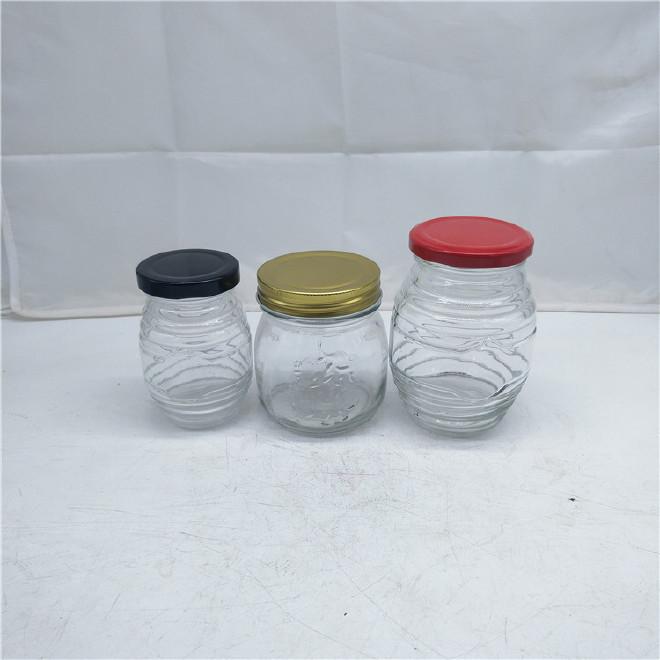 厂家定制玻璃蜂蜜瓶 黄桃罐头瓶 酱菜瓶 无铅加厚使用密封玻璃瓶