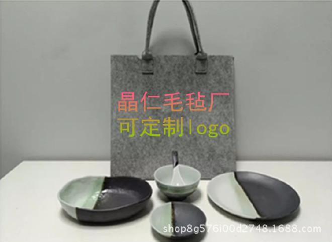 创意个性毛毡布手提袋  店铺套盒礼盒包装袋支持定做  可定制logo示例图1