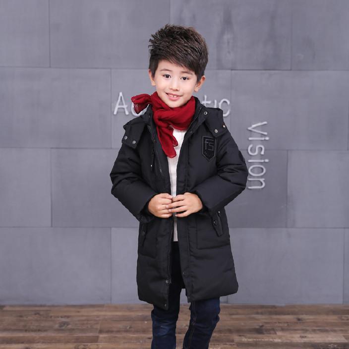 儿童羽绒服冬季正品男童中长款中大童连帽加厚外套潮童W17162