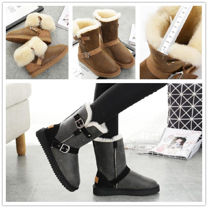 冬新品5825皮带扣中筒雪地靴男靴子羊皮毛一体平底保暖棉鞋大码