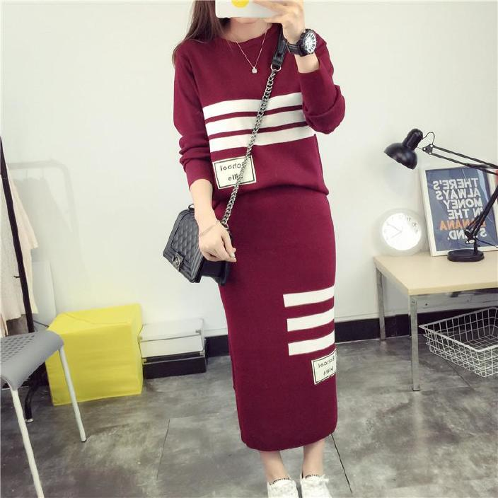 批发2016女装新款春秋裙两件套韩版长袖修身显瘦包臀裙套装中长款图片