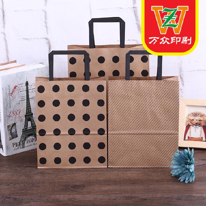 厂家直销牛皮纸袋点线系列线条礼品袋创意礼物纸袋白卡手袋袋批发图片