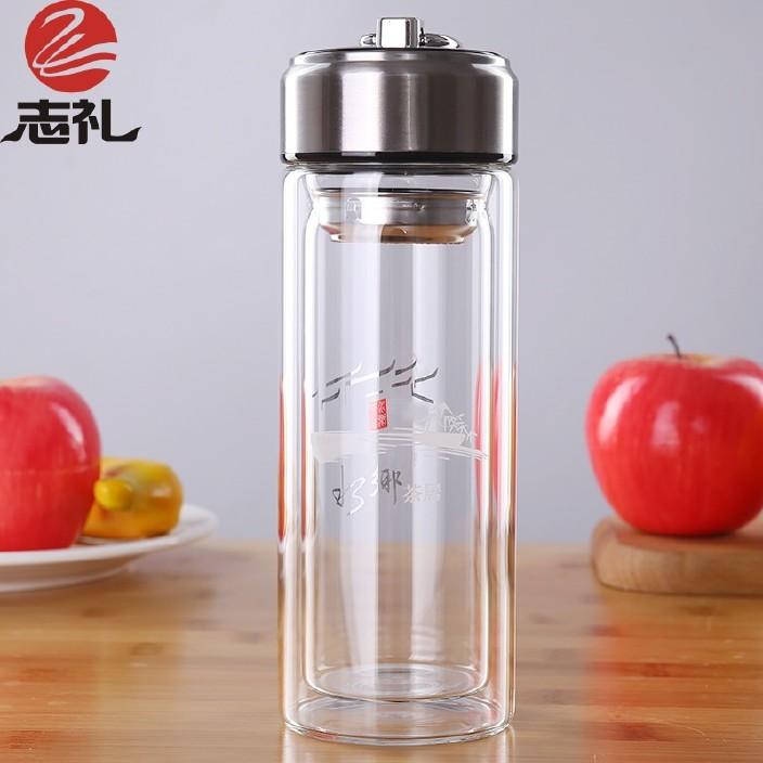 新品双层玻璃杯 透明提环运动杯子300ML易拉罐创意水杯LOGO可定制图片