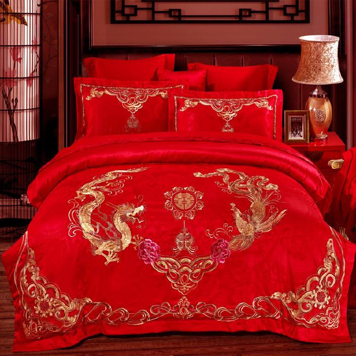 婚慶四件套提花刺繡全棉六件套件婚結婚大紅純棉多件套床品十件套圖片