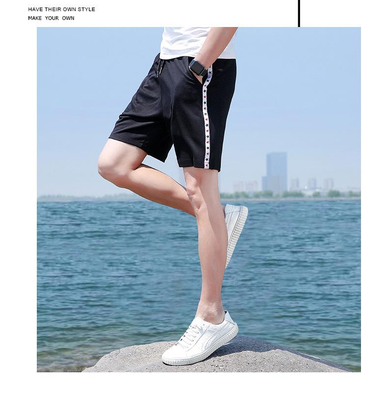 夏季男士短裤 中国风运动速干弹力沙滩裤 透气修身五分裤示例图7