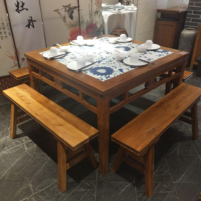大理石绿茶餐厅餐桌,厂家定制方形6人餐厅餐桌椅,古典中式餐桌椅组合定做,定制海德利家具