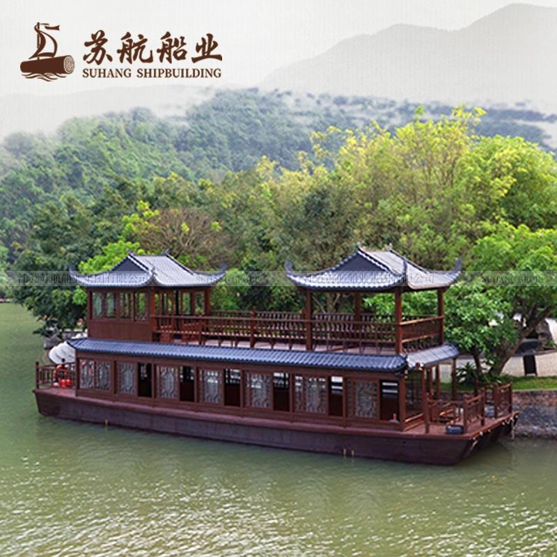 定制双层水上餐饮船厂家餐饮画舫船景区水上餐厅船