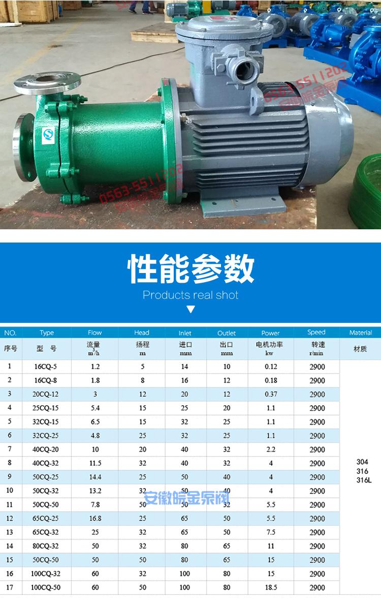 皖金不銹鋼磁力驅動泵,CQ型耐腐蝕泵,防酸堿化工泵,磁力循環泵,廠家直銷示例圖11