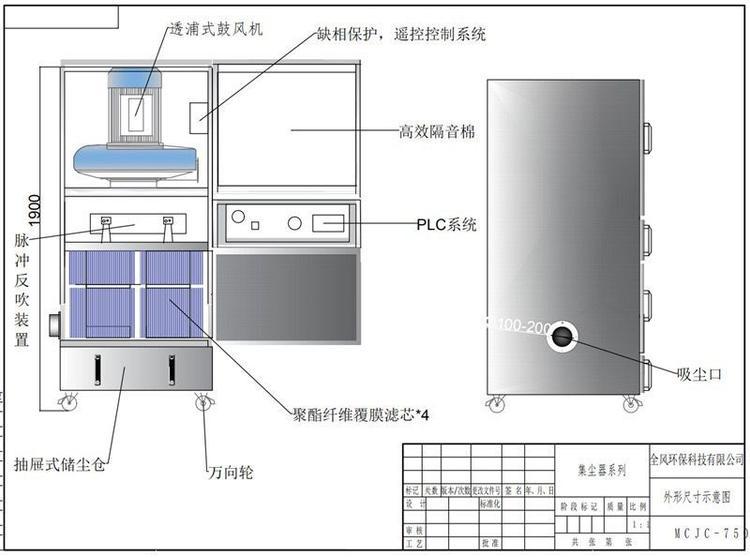 砂带机除尘设备 石墨粉尘吸尘装置 TWYX工业磨床吸尘机示例图9