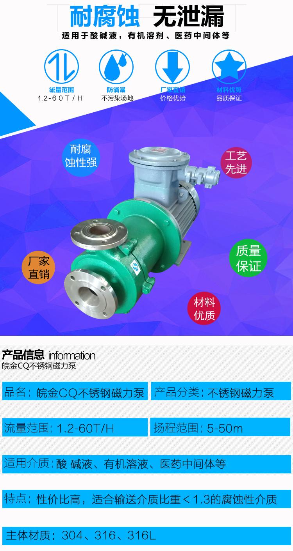 CQB磁力離心泵 不銹鋼磁力泵品牌 化工磁力驅動泵 304.316L磁力管道泵生產示例圖2