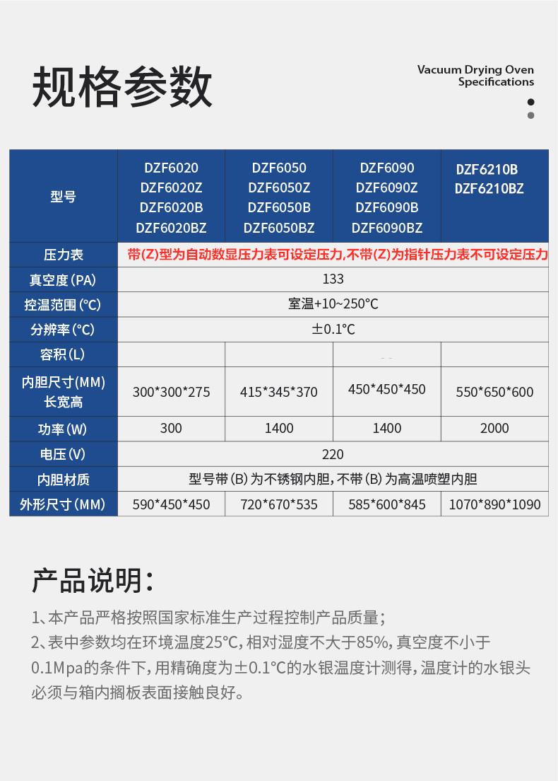 上海泓冠 DZF-6020 真空干燥箱 真空箱 烘箱 干燥箱廠家示例圖1