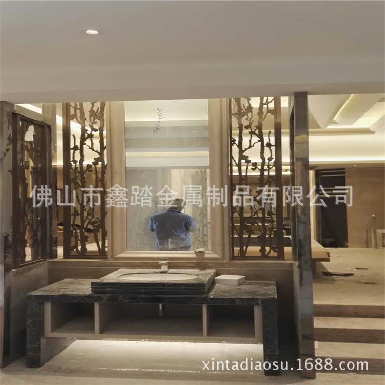 佛山酒店做旧铝板镂空屏风 青古铜铝板屏风隔断厂家示例图12