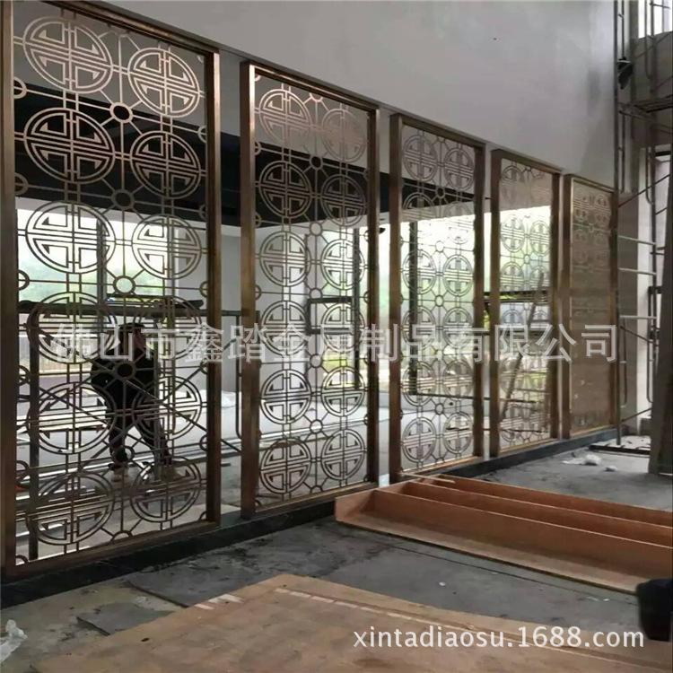 佛山酒店做旧铝板镂空屏风 青古铜铝板屏风隔断厂家示例图15