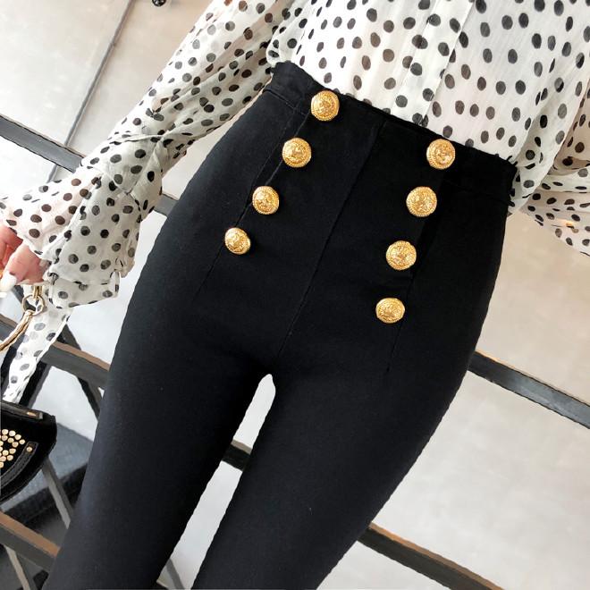2018新款雙排扣緊身小腳褲女顯腿長瘦腿外穿高腰褲子