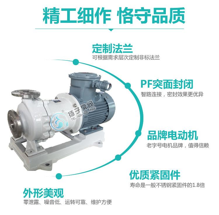CQB50-32-160P不锈钢磁力泵 高温耐酸碱磁力泵 耐腐蚀磁力驱动泵示例图9