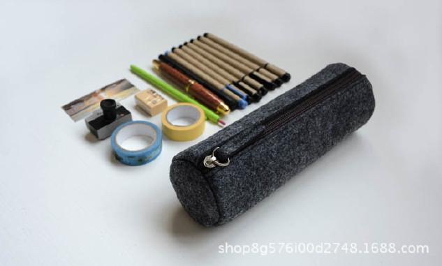 厂家直销毛毡笔袋时尚学生 大容量简约铅笔袋文具学生用品示例图3