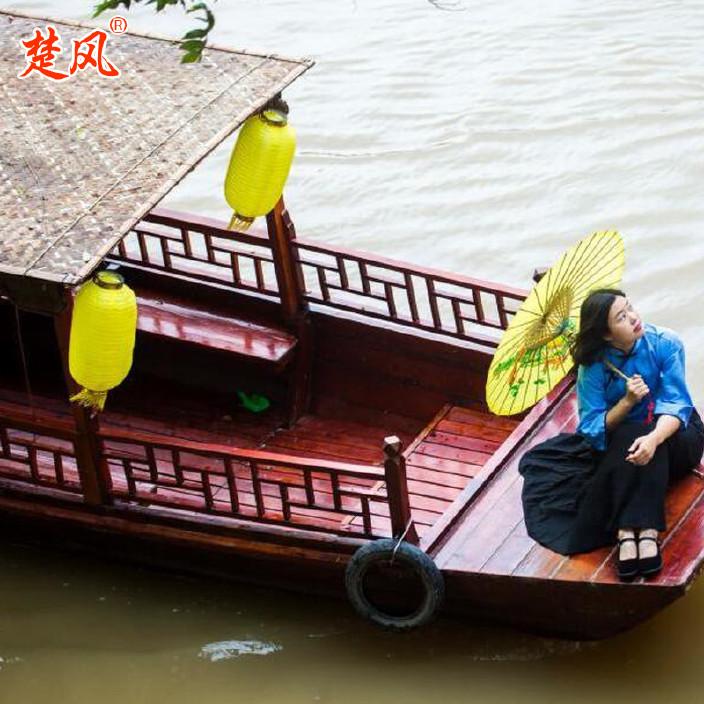 厂家供应热销木质仿古婚纱摄影装饰道具主题酒店摇橹木船乌篷船示例图8