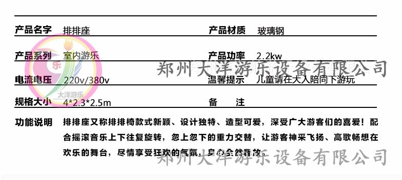 郑州大洋游乐设备重磅推出新款游乐儿童排排座项目 全新设计排排座报价示例图13
